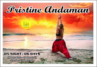 Package-Andaman - Beautiful woman doing virabhadrasana I, warrior yoga pose on the beach near the ocean at sunset in India